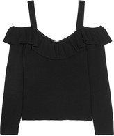 Iris and Ink Cold-shoulder ribbed-knit top