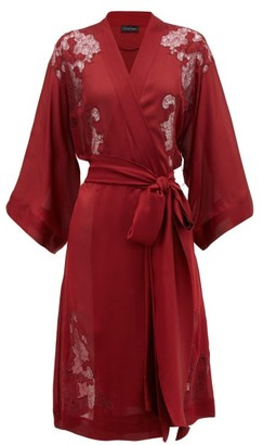 Carine Gilson Chantilly Lace-insert Silk-satin Robe - Womens - Red
