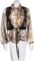Alberta Ferretti Lace-Accented Button-Up Top