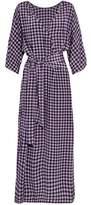 Diane von Furstenberg Wrap-Effect Gingham Silk-Satin Maxi Dress