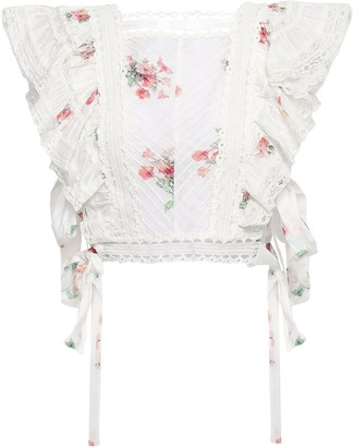 Zimmermann Cropped Lace-trimmed Floral-print Cotton-voile Top
