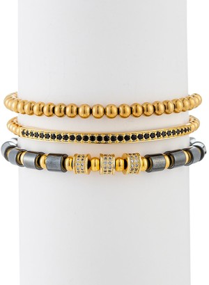 Eye Candy La Ezra 3-Piece Goldtone Lapis Cubic Zirconia Beaded Bracelet Set