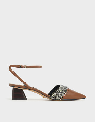 Charles & Keith Leather Crochet Pumps