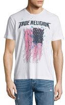 True Religion Paint-Splatter Flag Short-Sleeve Graphic Tee, Optic White