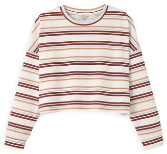 Habitual Girl's Oversized Striped Cropped Sweater