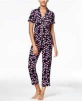 Alfani Piping-Trimmed Printed Knit Pajama Set, Only at Macy's