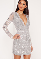 Missguided Premium Long Sleeve Sequin Embellished Wrap Mini Dress Grey