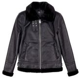 Burton Mens Black PU Aviator Style Jacket