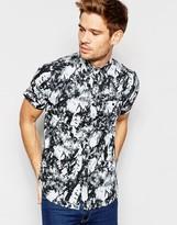 Brave Soul Marble Print Short Sleeve Shirt