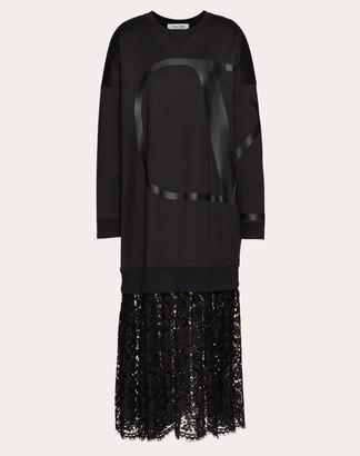 Valentino Vlogo Jersey Dress With Heavy Lace Skirt Women Black Cotton 94%, Polyamide 6% M