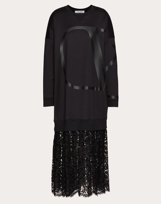 Valentino Vlogo Signature Jersey Dress With Heavy Lace Skirt Women Black Cotton 94%, Polyamide 6% L