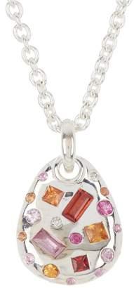 Ippolita Sterling Silver Fortuna Large Sapphire & Diamond Pebble Pendant Necklace