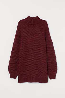 H&M Textured-knit Turtleneck - Red