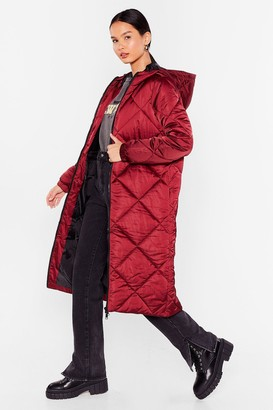Nasty Gal Womens Our Quilt-y Pleasure Longline Padded Coat - Oxblood