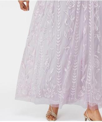 Monsoon Lavinia Embroidered Maxi Dress - Purple