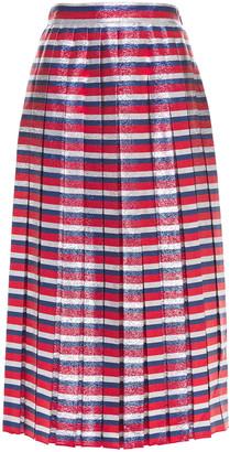 Gucci Pleated Metallic Striped Silk-blend Midi Skirt