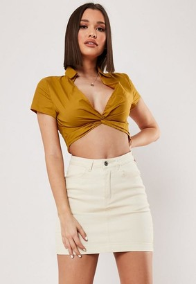 Missguided Mustard Plunge Twist Crop Shirt