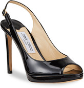 Jimmy Choo Nova Patent Leather Peep-Toe Slingback Pumps