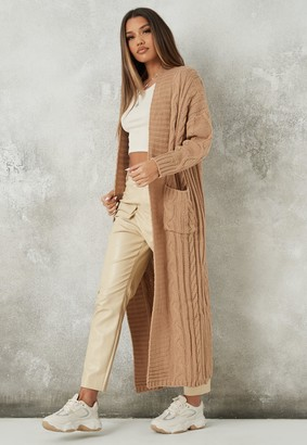 Missguided Stone Cable Oversized Knit Maxi Cardigan