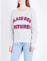 Claudie Pierlot Text-embroidered cotton-blend sweatshirt