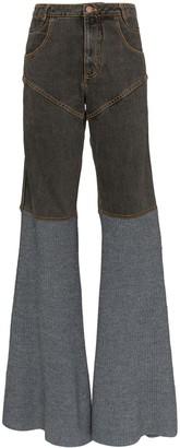 Telfar Two-Tone Flared Jeans