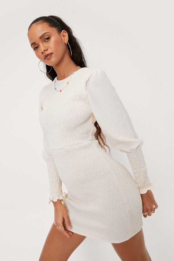 Thumbnail for your product : Nasty Gal Womens Shirred Bodice Puff Sleeve Bodycon Mini Dress - White - 6