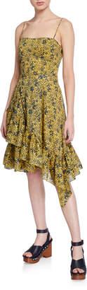 Derek Lam 10 Crosby Cami Dress with Asymmetric Ruffle Hem