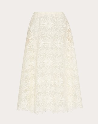 Valentino Flared Skirt In Rebrode Organza Women Ivory Polyester 55%, Silk 18% 42