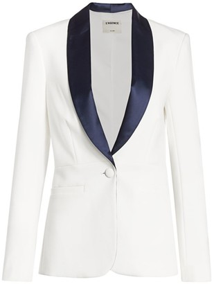 L'Agence Contrast Lapel Smoking Jacket