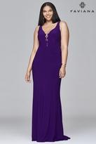 Faviana 9416 Long v-neck jersey dress with lace-up inserts