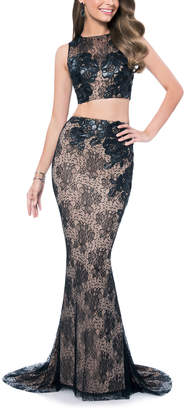 Terani Couture Women's Special Occasion Dresses BLACK - Black & Nude Lace Two-Piece Gown - Women