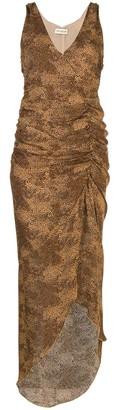 Nicholas draped front animal-print dress