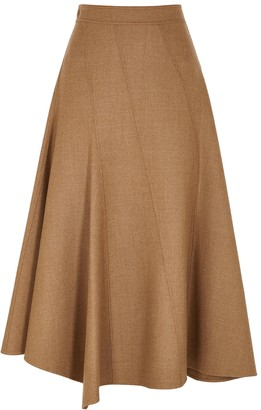 J.W.Anderson Brown panelled stretch-wool midi skirt