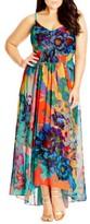 City Chic Plus Size Women's 'Hot Summer Days' Print High/low Maxi Dress