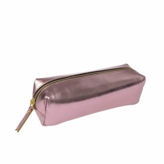 Vida Vida Metallic Pink Leather Pencil Case