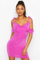 boohoo Textured Slinky Strappy Cowl Neck Mini Dress