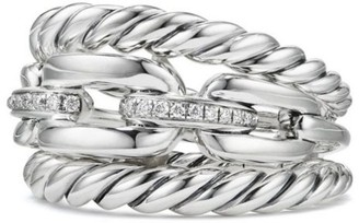 David Yurman Wellesley Link Pave Diamonds & Sterling Silver Three-Row Ring
