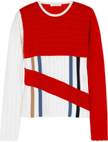 Ribbed wool-blend jersey sweater