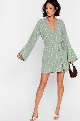 Nasty Gal Womens Kimono Here Often Polka Dot Mini Dress - Green