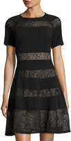 Jax Short-Sleeve Mesh-Inset Fit-and-Flare Dress, Black