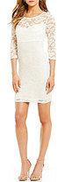 B. Darlin Illusion-Yoke 3/4 Sleeve Open Back Lace Sheath Dress