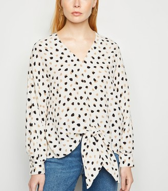 New Look Spot Long Sleeve Tie Front Blouse
