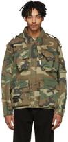 R 13 Green and Brown Camo Multi-Pocket Jacket
