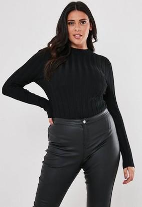 Missguided Plus Size Black Rib Crew Neck Knit Bodysuit