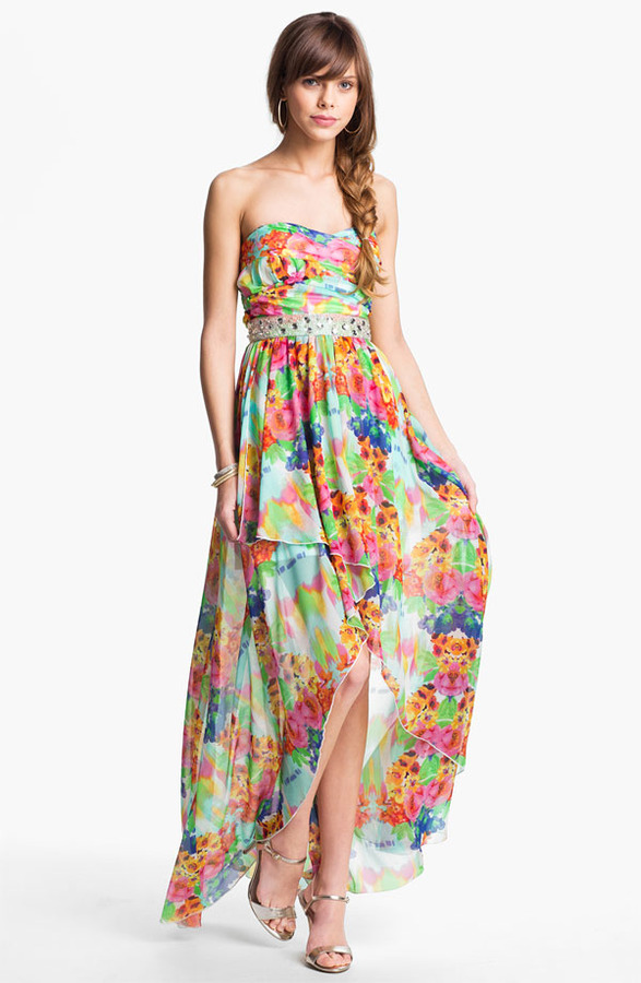 As U Wish Floral Chiffon High/Low Gown (Juniors)