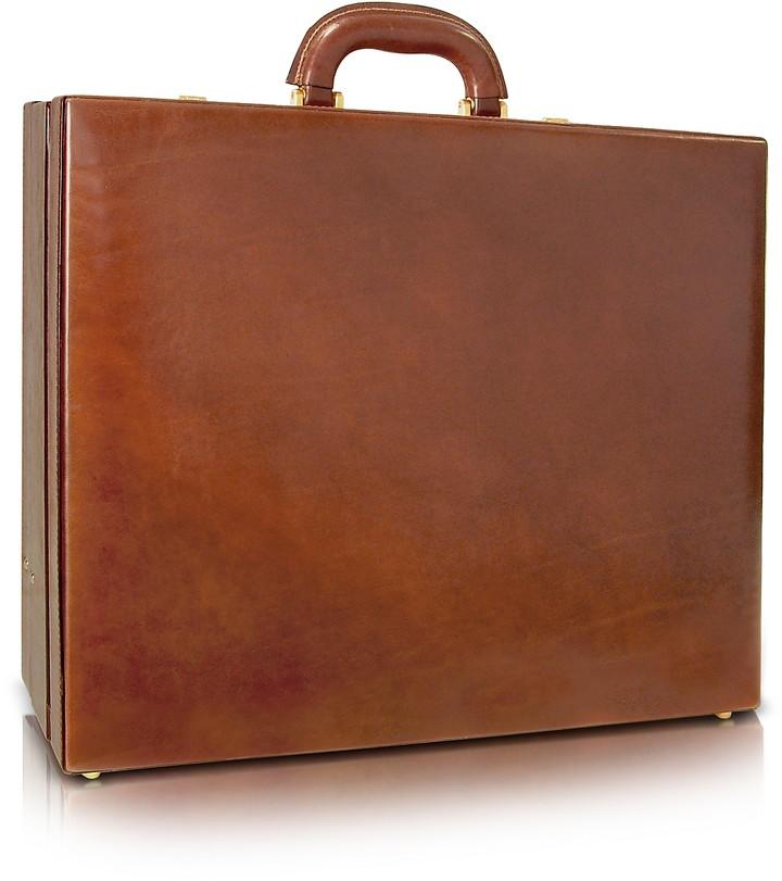 Chiarugi Men's Handmade Brown Leather Attache Briefcase