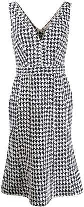 Alexander McQueen houndstooth deep-V midi dress
