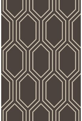 "George Oliver Adler Geometric Handmade Tufted Charcoal/Taupe Area Rug George Oliver Rug Size: Rectangle 3'3"" x 5'3"""
