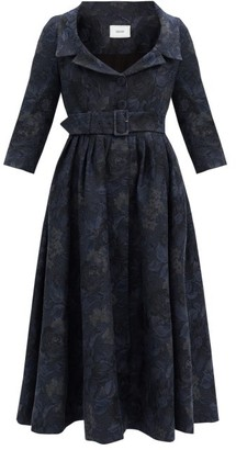 Erdem Meril Cotton-blend Floral-jacquard Midi Dress - Navy