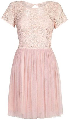 Yumi Floral Lace And Mesh Prom Dress
